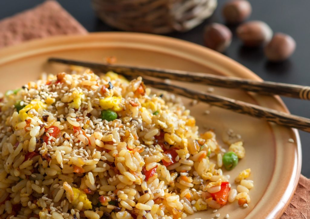 Fried Rice with Vegetables and fried eggs